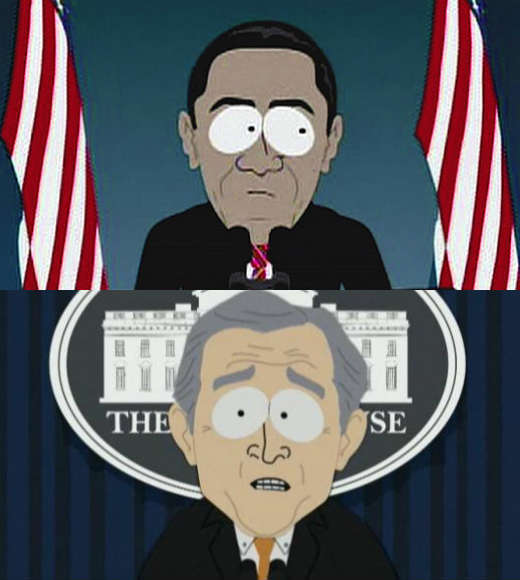 Obama, Romney, Clinton and Bush -- or not: Great presidential impersonators on TV: The South Park mastermind voiced both presidents... and neither of them came out looking good. If Mitt Romney takes the Oval Office this November, he can expect more of the same.