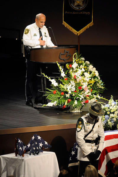 Broward Sheriff Al Lamberti gives the eulogy for fallen deputy Christopher Schaub during his funeral at Calvary Chapel in Ft. Lauderdale. Schaub, 47, was a motorcycle officer who died in a crash Sept. 26 while on duty in Pompano Beach.