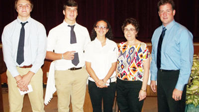 (L-R) Sophomore Patrick Unger; Seniors Gap Barbin and Aubrey Flynn; Mrs. Durinda Reaman, English Department Chairperson; and Kenneth Salem, BMCHS Principal.