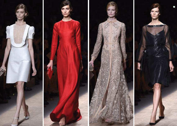 Looks from the Valentino spring-summer 2013 runway collection shown during Paris Fashion Week.