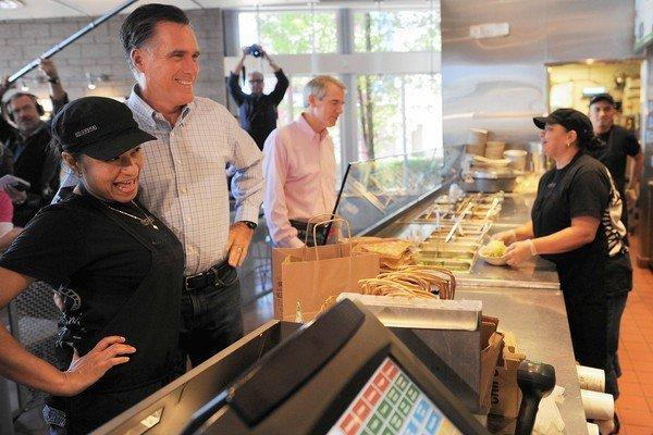 Mitt Romney stops at a Chipotle restaurant in Denver for lunch on a break from debate practice.