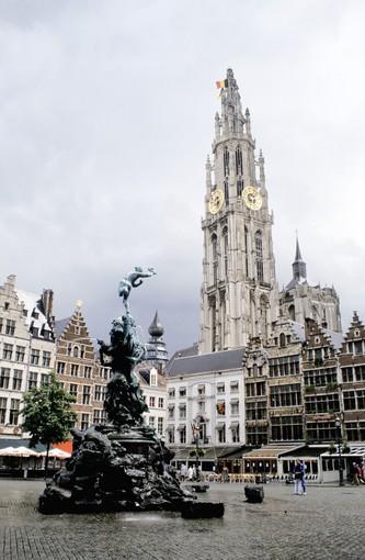 Belgium, Antwerp, Antwerp Cathedral, With Brabofontein In The Foreground, Grote Markt.