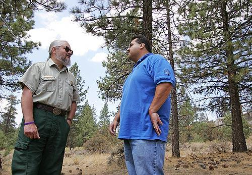 Doug McKay, left, a U.S. Forest Service archeologist, and James Ramos, the cultural resource c