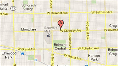 A map of the area where a 28-year-old motorcyclist was killed in a traffic crash in the Belmont Central neighborhood.