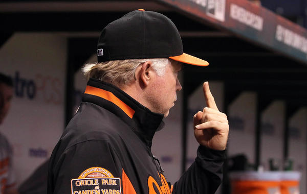 Orioles manager Buck Showalter reacts in the dugout during the team's 1-0 win over the Rays. The Orioles' last game is Wednesday night.