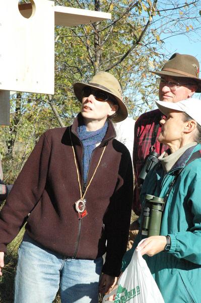 Wendy Bean (from left), Darryl Parish, both of Boyne City, and Sally Stebbins of Harbor Springs put cedar shavings in a nesting box designed for American kestrels at the Stutsmansville Bog Nature Preserve north of Harbor Springs on Saturday.