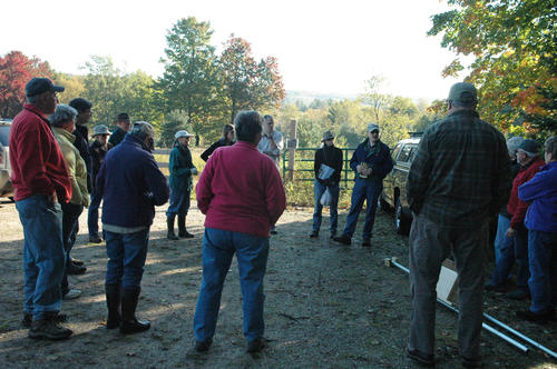 Volunteers listen to Wendy and Jim Bean explain the kestrel monitoring program.