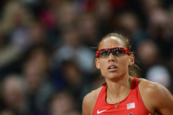 LoLo Jones looks on prior to competing in the women's 100-meter hurdles final at the London Olympics.
