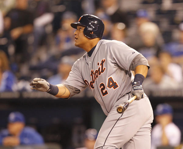 Miguel Cabrera singles in the first inning against the Royals at Kauffman Stadium in Kansas City.