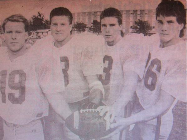 Roncalli graduates (from left) Mark McNeary, Kevin Fiedler, Tom Scheid and Dan Goetz made up four-fifths of the NSU defensive backfield in 1989.