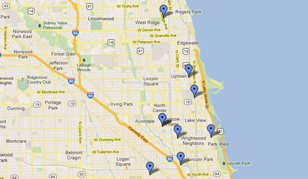 Map of robberies confirmed as part of a pattern of fast-food and convenience store robberies that started Aug. 21. Chicago police, Google maps