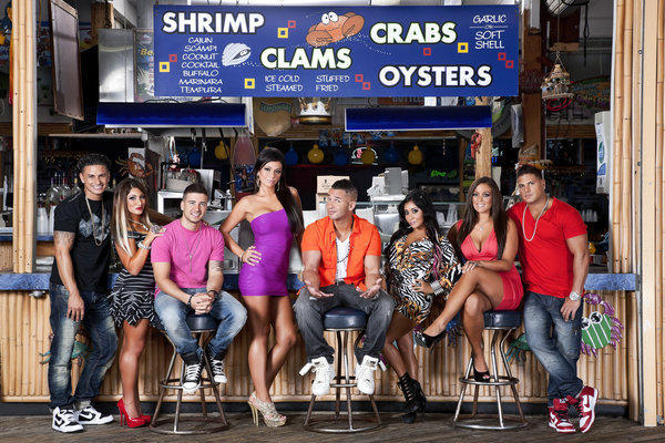 "The cast of ""Jersey Shore,"" from left, Paul ""DJ Pauly D"" Delvecchio, Deena Nicole Cortese, Vinny Guadagnino, Jenni ""JWOWW"" Farley, Mike ""The Situation"" Sorrentino, Nicole ""Snooki"" Polizzi, Sammi ""Sweetheart"" Giancola and Ronnie Magro in Seaside Heights, N.J."