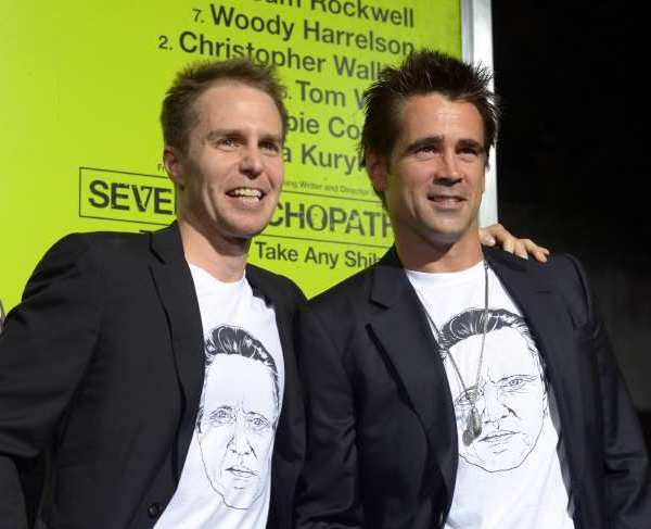 "Sam Rockwell, left, and Colin Farrell wear t-shirts featuring an image of their ""Seven Psychopaths"" co-star Christopher Walken at hte film's premiere."