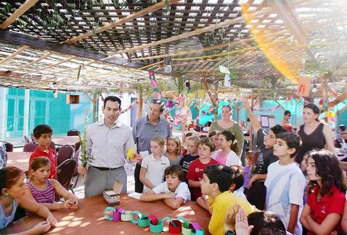 Senior Rabbi Gershon Zylberman talks about the holiday of Sukkot to Hebrew school students in the Sukkah, or temporary one room structure, at Temple Bat Yahm on Tuesday.