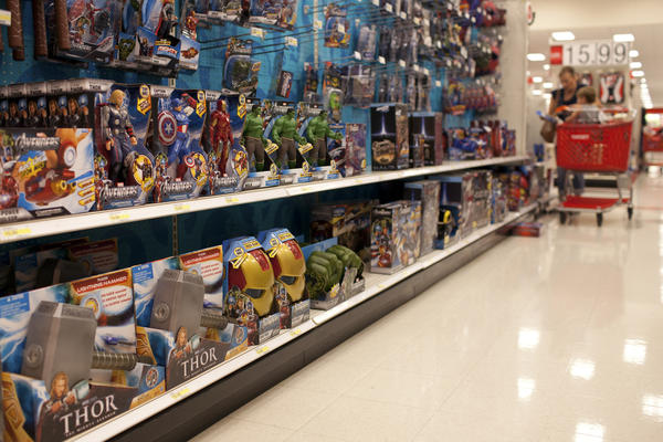 Hasbro Inc. toys based on Marvels The Avengers movie sit on the shelf at a Target Corp. store.