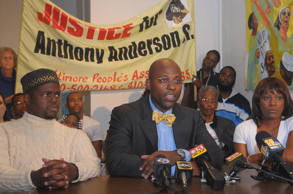 "From left, The Rev. Cortly ""C.D."" Witherspoon, attorney J. Wyndal Gordon and family spokeswoman Nancy Harvey conduct a press conference to discuss the medical examiner's finding that the death of Anthony Anderson in police custody was a homicide."
