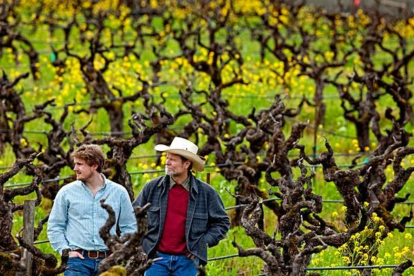 Morgan Twain-Peterson, left, makes a Bedrock Heirloom Wine that's half Zin. His dad, Joel Peterson, makes a Ravenswood wine labeled Zinfandel.