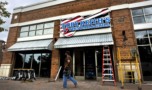 From the outside, Toby Keith's new Rest. at Newport News City Center to open soon.
