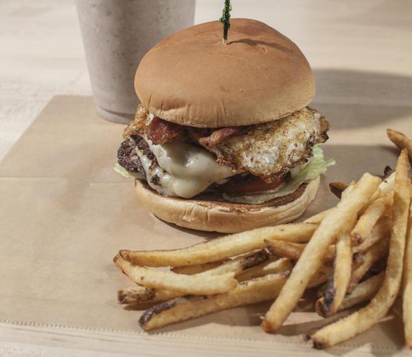 Cajun Sunrise burger at Meatheads in Roscoe Village