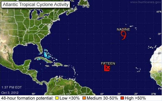 A fifteenth tropical depression has formed as Tropical Storm Nadine continues to circle the Atlantic.