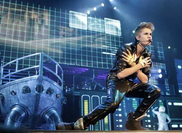 Justin Bieber onstage at Staples Center on Tuesday.