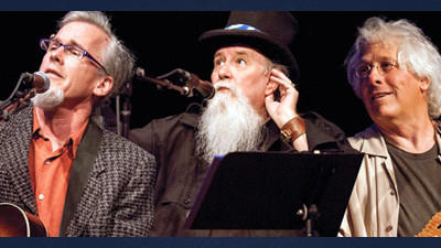 The Three Troubadours, Peter Wilson, Mountain John (Hilligoss) and Moe Dixon.