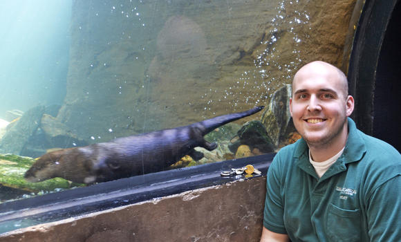 Steve Dombroskie and one of his favorite river otters.
