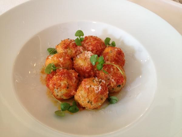 A bowl of gnudi from Scarpetta.