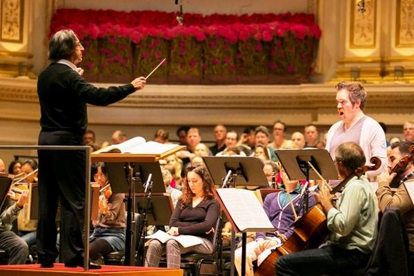 Chicago Symphony Orchestra music director Riccardo Muti conducts rehearsal for the Carnegie Hall opening as Baritone Audun Iversen performs.