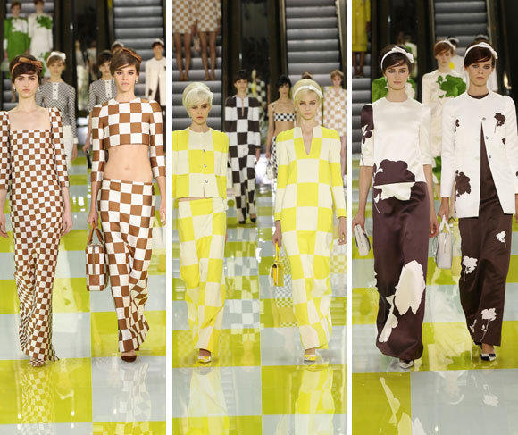 Looks from the Louis Vuitton spring-summer 2013 runway collection shown during Paris Fashion Week.
