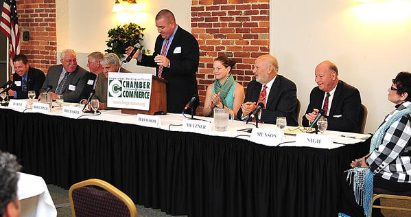 A Hagerstown City Council candidate forum Wednesday included, from left, Kristin Aleshire, Larry Bayer, William Breichner, Martin Brubaker, moderator John Latimer, Ashley Haywood, Lewis Metzner, Donald Munson and Penny Nigh.