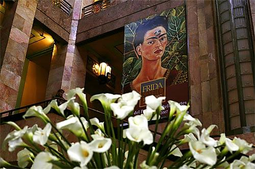 The lobby of the Museo del Palacio de Bellas Artes in Mexico City, where Mexico's largest exhibition of Frida Kahlo's artwork is on display through Aug. 19.