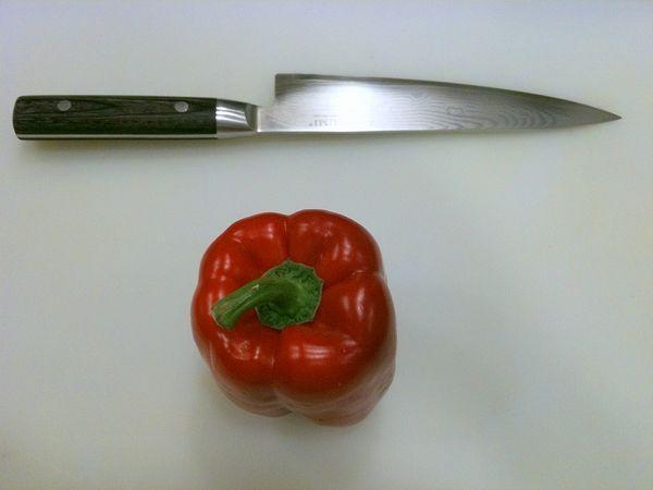 Breaking down a bell pepper.