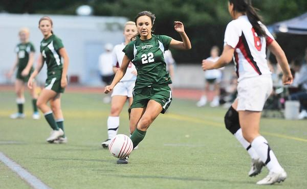 Central Catholic's Katie Searles (22)dribbles the ball during a Lehigh Valley Conference high school girls soccer playoffs game at J. Birney Crum Stadium in Allentown on Wednesday.