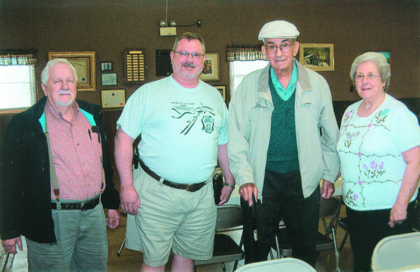 Among those in attendance at the Cambria-Somerset County Grange picnic were from left: Jim Mowry, Master of the Somerset County Pomona Grange; Carl Meiss, Master of the Pennsylvania State Grange; William H. Ringler, past Master of the Pennsylvania State Grange; and Carol Hemminger, Master of the Cambria County Pomona Grange.