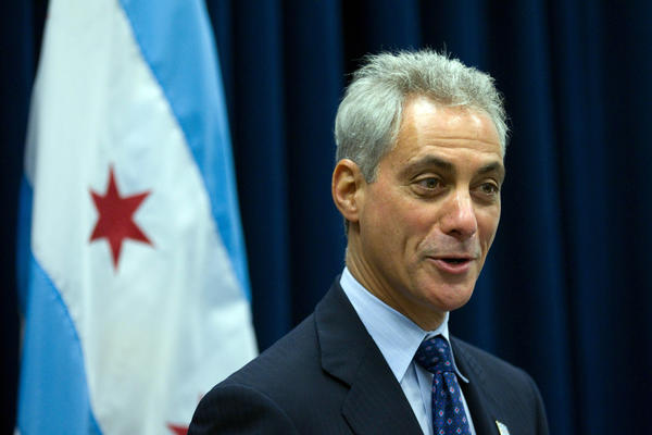 Mayor Rahm Emanuel answers questions at a press conference at City Hall.