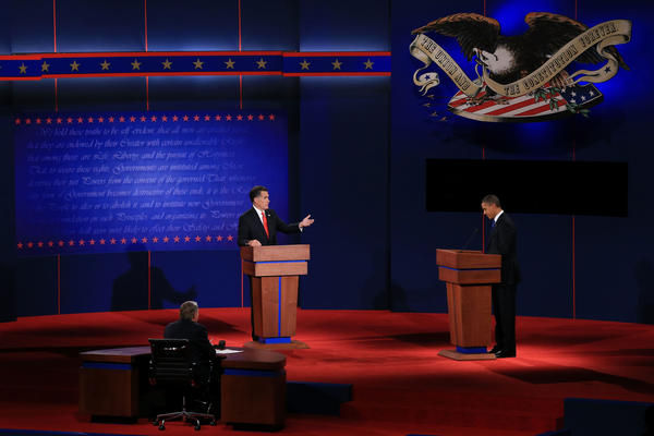 Mitt Romney and President Obama during their first presidential debate at the University of Denver.