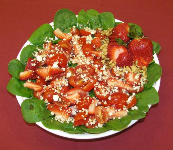 Tangy tomato strawberry salad.