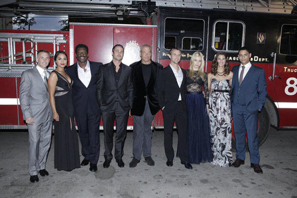 David Eigenberg, Monica Raymund, Eamonn Walker, Taylor Kinney, Dick Wolf, Executive Producer; Jesse Spencer, Lauren German, Teri Reeves and Charlie Barnett