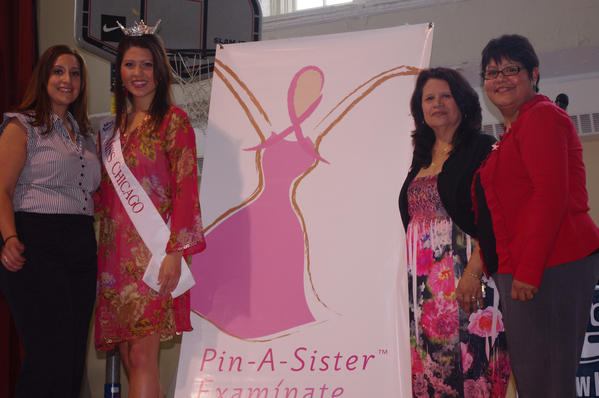 Paulina Guzman, Access Community Health Network¿s Manager of Faith and Community Programs, right; Illinois State Representative Toni Berrios (39th District); Miss Chicago Marisa Buchheit and breast cancer survivor Nicole Santiago pose for a photo after a recent Pin-A-Sister(TM)/Examinate Comadre(TM) pink-ribbon pinning ceremony at Berrios' recent Women's Health and Resource Fair.