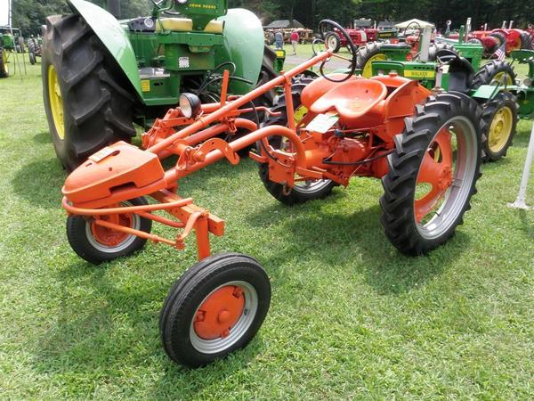 Walker was drawn to this 1954 Allis Chalmers G because it was different and unusual looking. This tractor would have originally been used on smaller farms and was ideal for cultivating. The tractor's design allowed for the maximum visibility of working implements below and around the tractor.