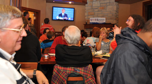 People react while watching and discussing the first televised presidential debate between President Barack Obama and Mitt Romney at the Copperhead Grill on Airport Rd in Allentown on Wednesday night.