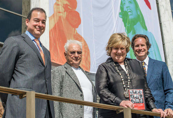 Facundo L. Bacardi, Frank Gehry, Lin Arison and Paul T. Lehr at the announcement of the new headquarters for the National YoungArts Foundation in Miami.