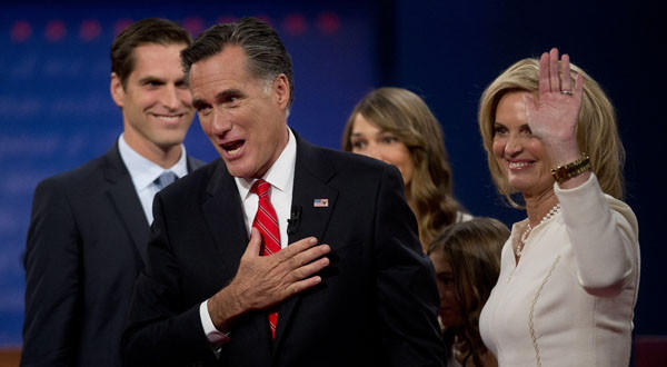 Mitt Romney with wife Ann and other family members after Wednesday's presidential debate in Denver.