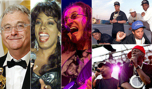 Left to right: Randy Newman (Matt Sayles / AP); Donna Summer (Jeff Christensen / Reuters); Geddy Lee of Rush (Zia Nizami/Belleville News-Democrat); N.W.A. (Top - Los Angeles Times); and Chuck D. and Flavor Flav of Public Enemy (bottom - Karl Walter / Getty Images).