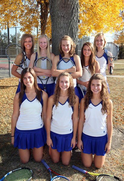 These girls will represent Aberdeen Central at the state tennis tournament in Rapid City this weekend. In back from the left are Ashley Thone, Lindsey Simon, Emily Magera, Paige Prissel and Kate Allen. In front from the left are Diana Peck, Erica Hanson and Kristen Hanson.