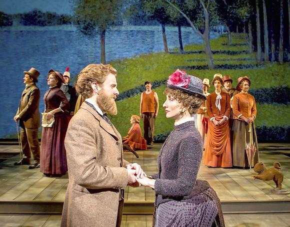"George (Jason Danieley) and Dot (Carmen Cusack) in the musical ""Sunday in the Park with George""  at Chicago Shakespeare Theater."