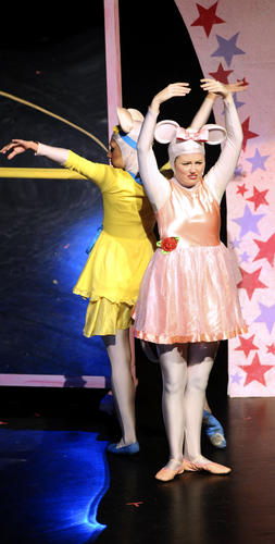 "Members of the Vital Theatre Co., including Kelsey Self in the title role, perform ""Angelina The Ballerina The Musical"" on Wednesday morning at the Capitol Theatre."