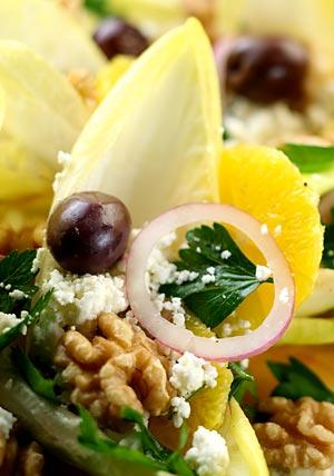 "Feta, endive and orange salad is one of the recipes in Sam and Sam Clark's most recent book, ""Moro East."""