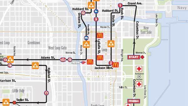 Part of the route of the Chicago marathon